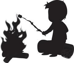 silhouette boy roasting marshmallow